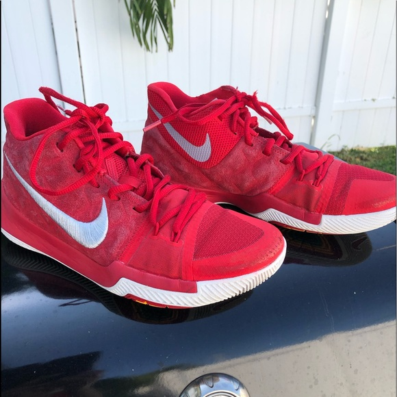 """d80fab468f957 Nike Kyrie 3 """"University Red"""" Signature Red Suede"""